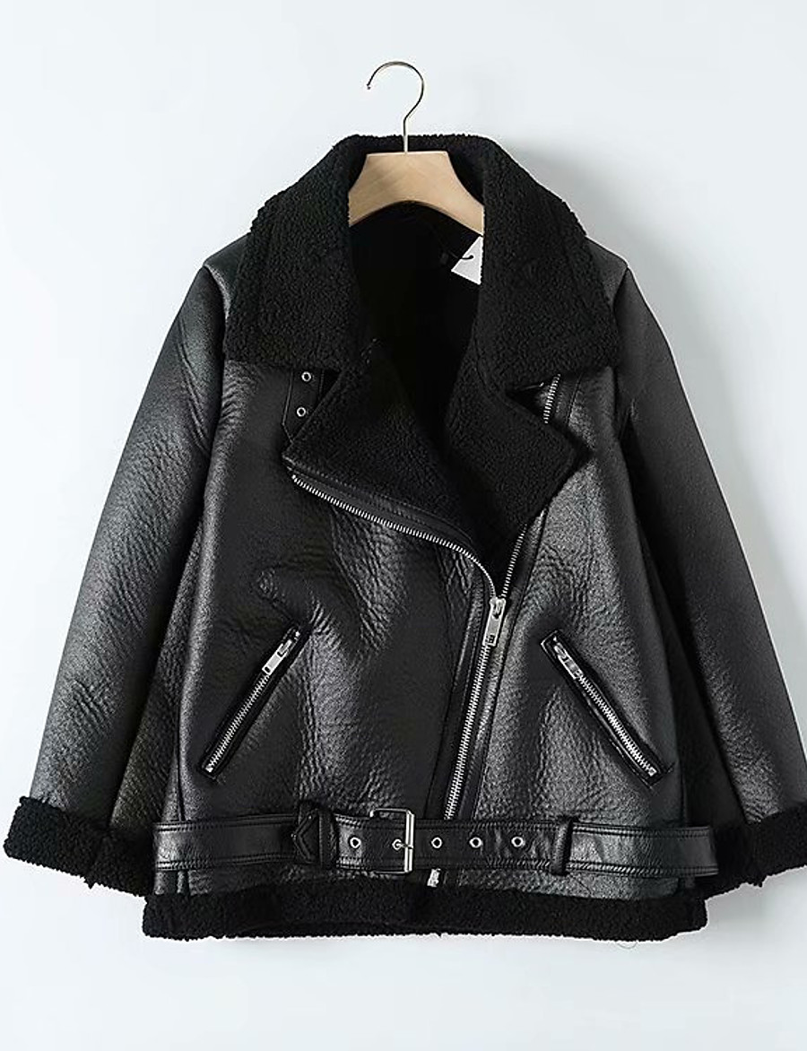 Women's Winter Faux Leather Jacket Short Solid Colored Daily Black Beige XS S M