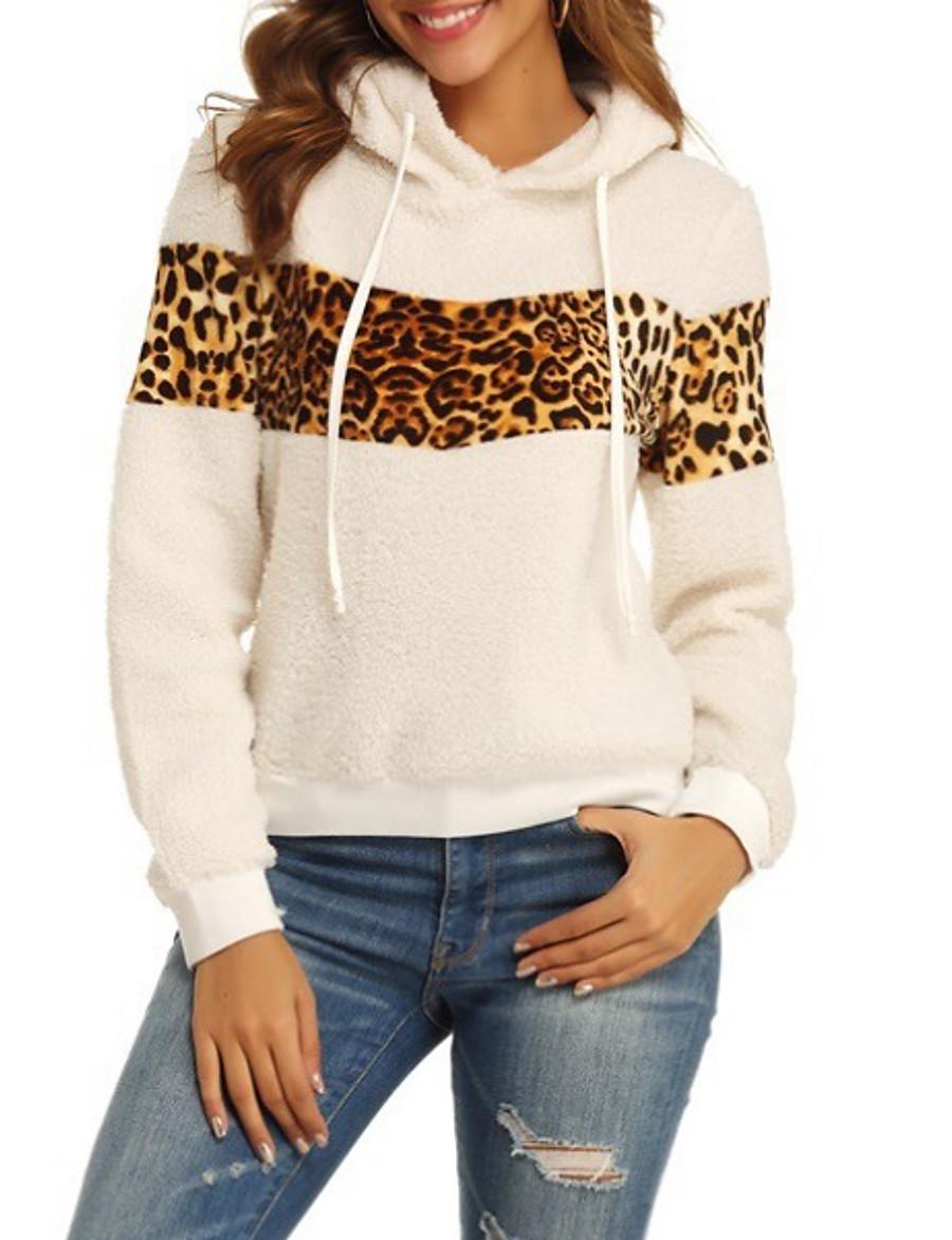 Women's Pullover Hoodie Sweatshirt Teddy Coat Color Block Leopard Cheetah Print Casual Hoodies Sweatshirts  Loose Beige