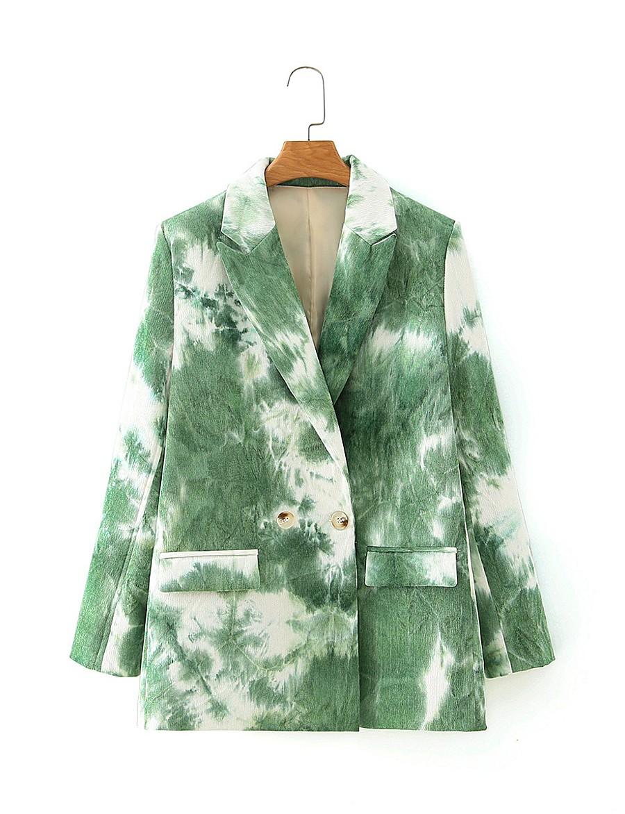 Women's Peaked Lapel Blazer Tie Dye Blushing Pink / Green S / M / L