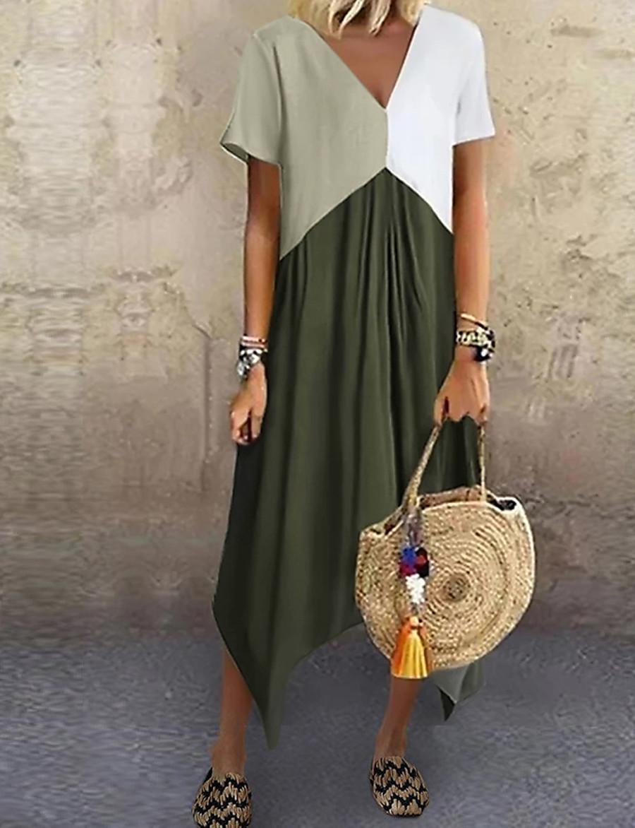 Women's A-Line Dress Midi Dress - Short Sleeve Color Block Color Block Spring & Summer V Neck Stylish Hot 2020 Red Green Gray Light Blue S M L XL XXL 3XL 4XL 5XL