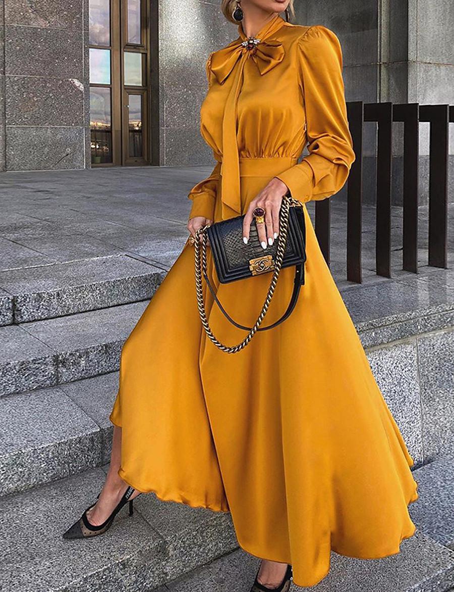 Femme Robe Fourreau Robe Maxi longue - Manches Longues Noeud Ruché Eté Simple chaud Mince 2020 Noir Rouge Jaune S M L XL