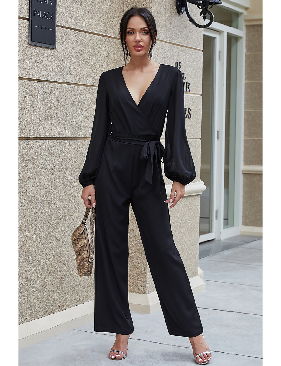SABOLAY Women's Black Jumpsuit Solid Colored / Wide Leg