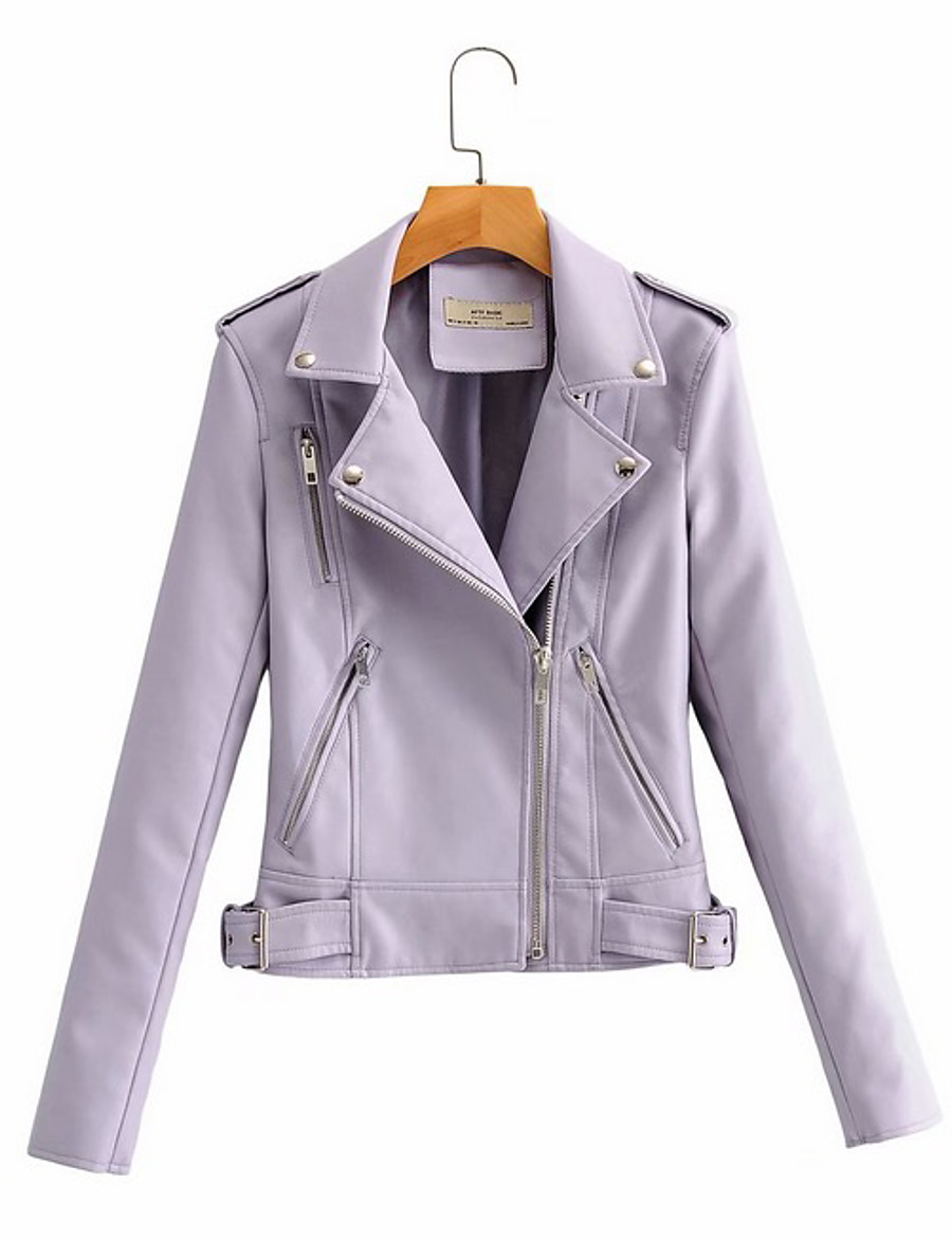 Women's Faux Leather Jacket Short Solid Colored Daily Black Purple Blushing Pink Beige S M L XL