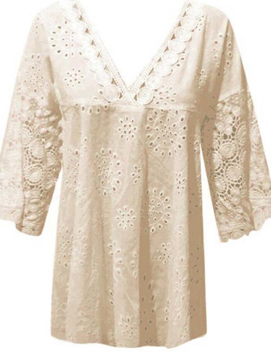 Women's Plus Size Blouse Shirt Solid Colored Lace V Neck Tops Loose Basic Top White Blue Purple