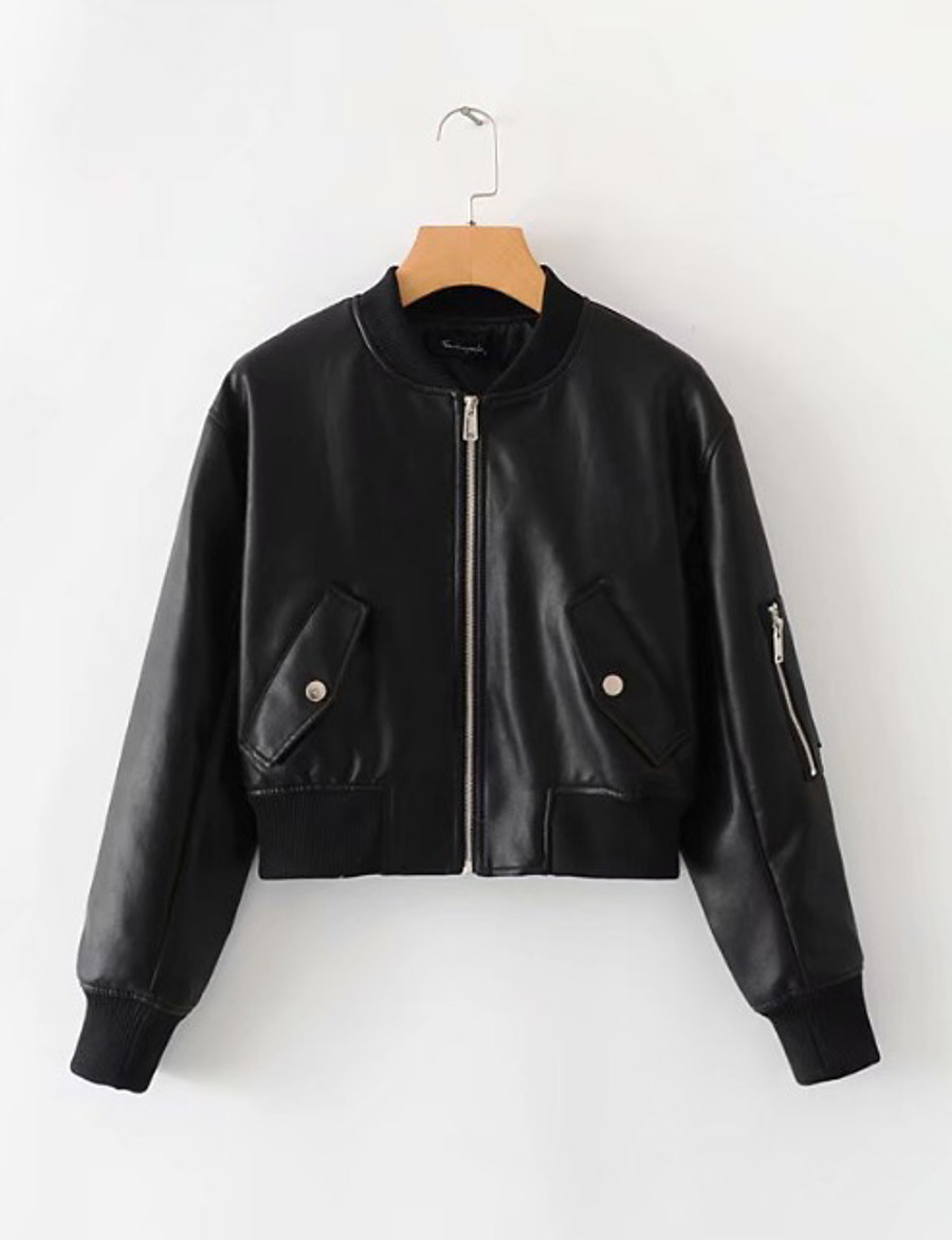 Women's Faux Leather Jacket Short Solid Colored Daily Black S M L
