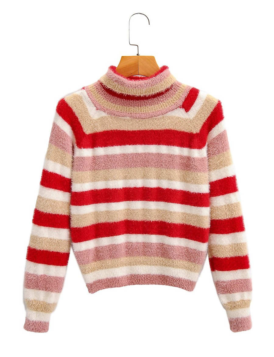 Women's Striped Pullover Long Sleeve Sweater Cardigans Crew Neck Round Neck Fall Winter Red