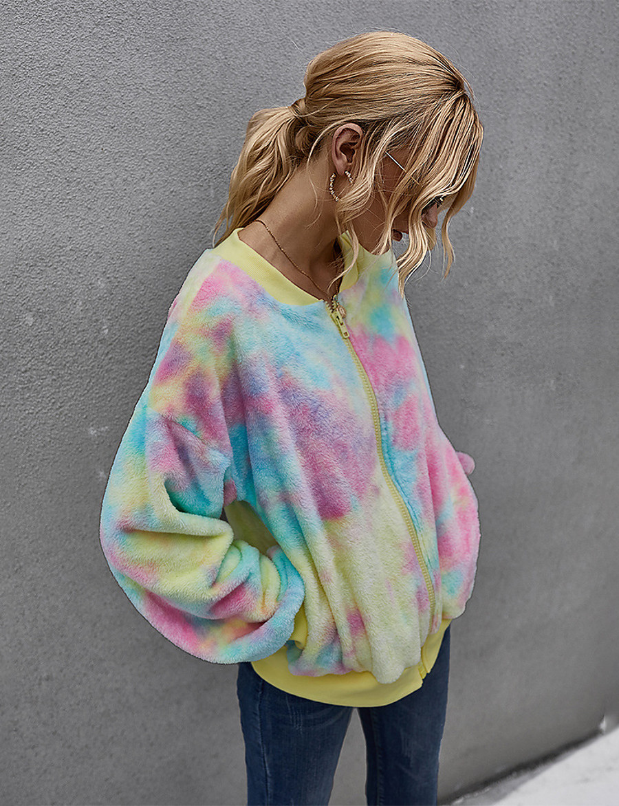 Women's Teddy Coat Regular Tie Dye Daily Basic Yellow Fuchsia Green Beige S M L XL