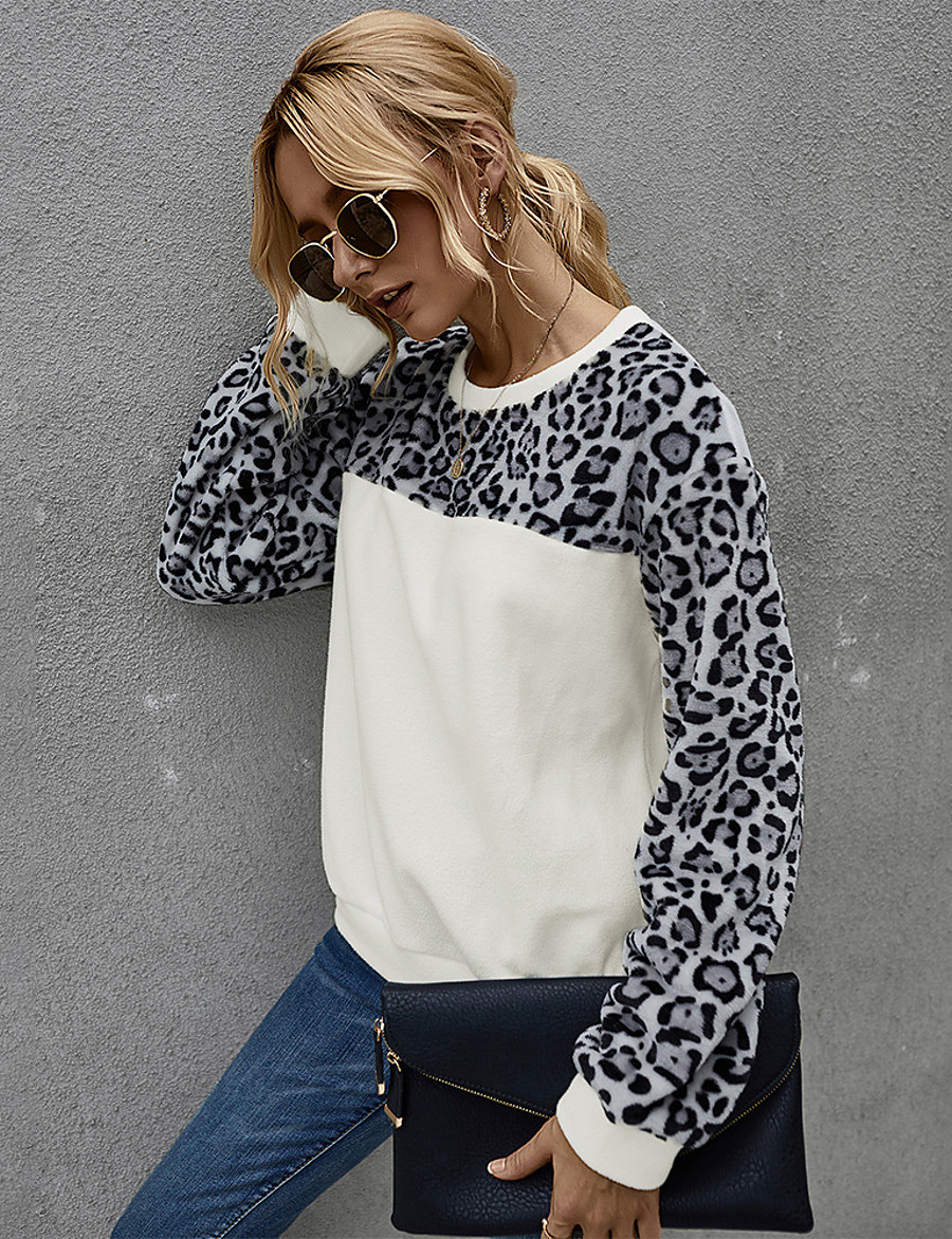 Women's Daily Pullover Sweatshirt Leopard Color Block Cheetah Print Basic Hoodies Sweatshirts  Loose White Brown Gray