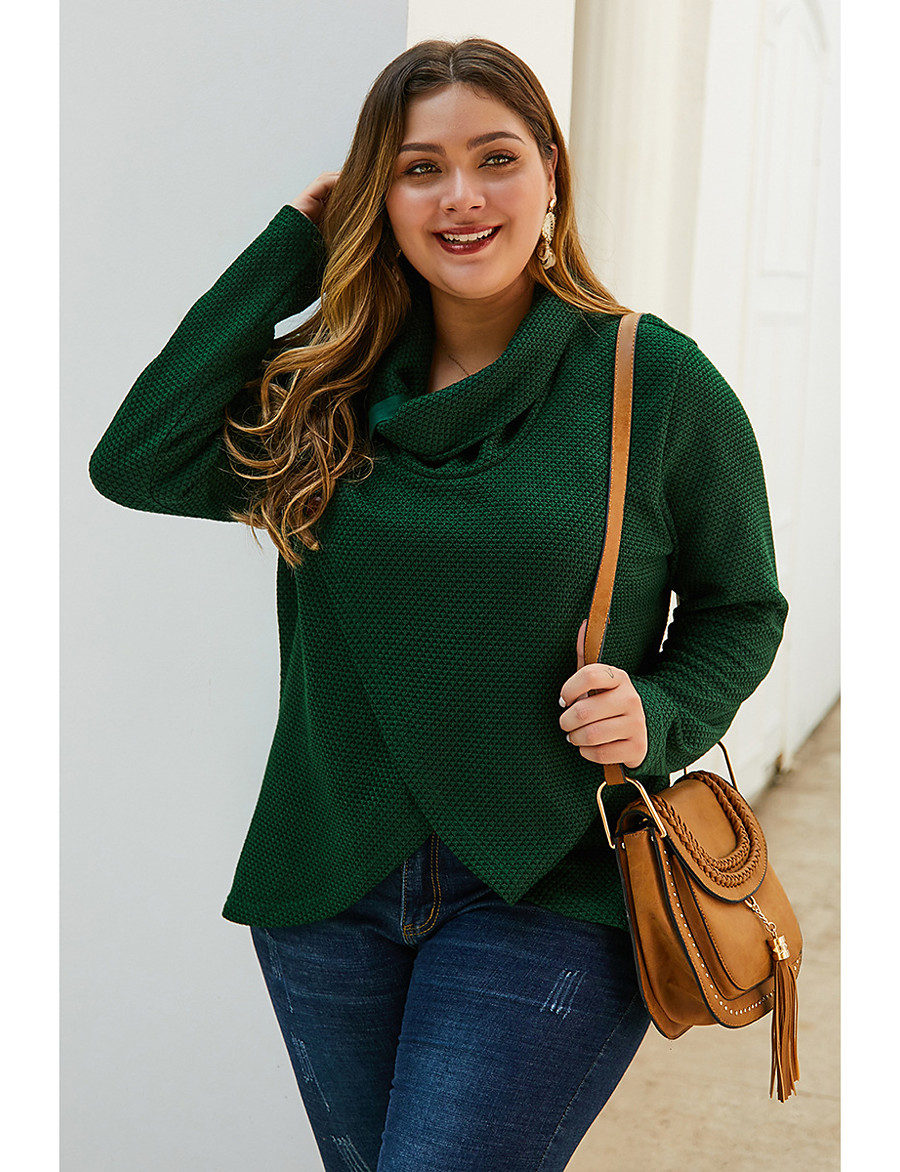 Women's Solid Colored Pullover Long Sleeve Plus Size Oversized Sweater Cardigans Turtleneck Fall Winter Army Green