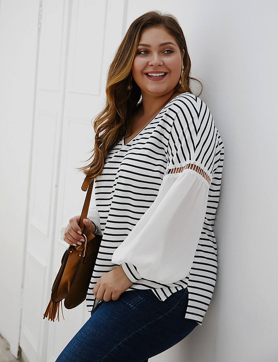 Women's Plus Size Blouse Shirt Striped Color Block Long Sleeve Patchwork V Neck Tops Loose Basic Basic Top White
