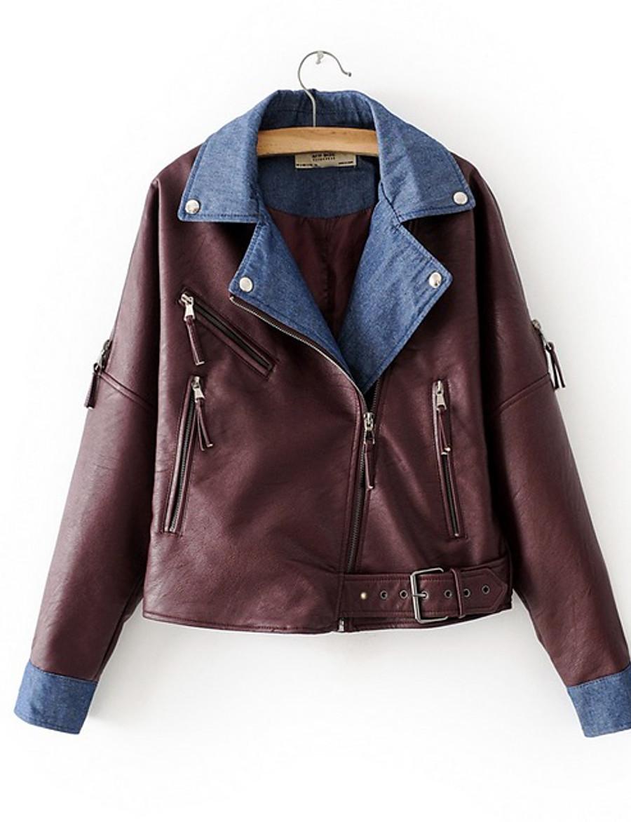 Women's Faux Leather Jacket Short Color Block Daily Black Wine S M L XL / Loose