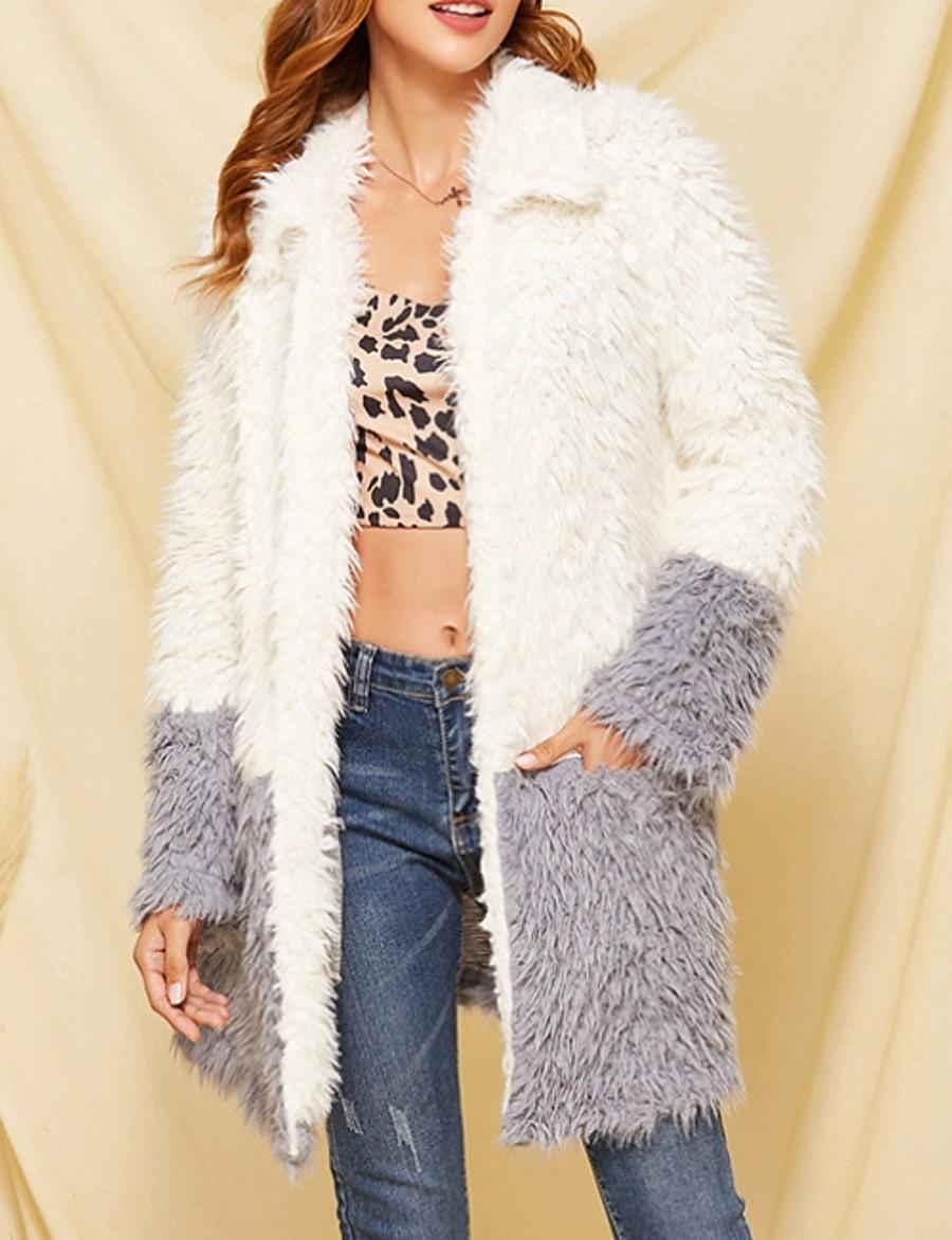 Women's Faux Fur Coat Long Color Block Daily White S M L XL
