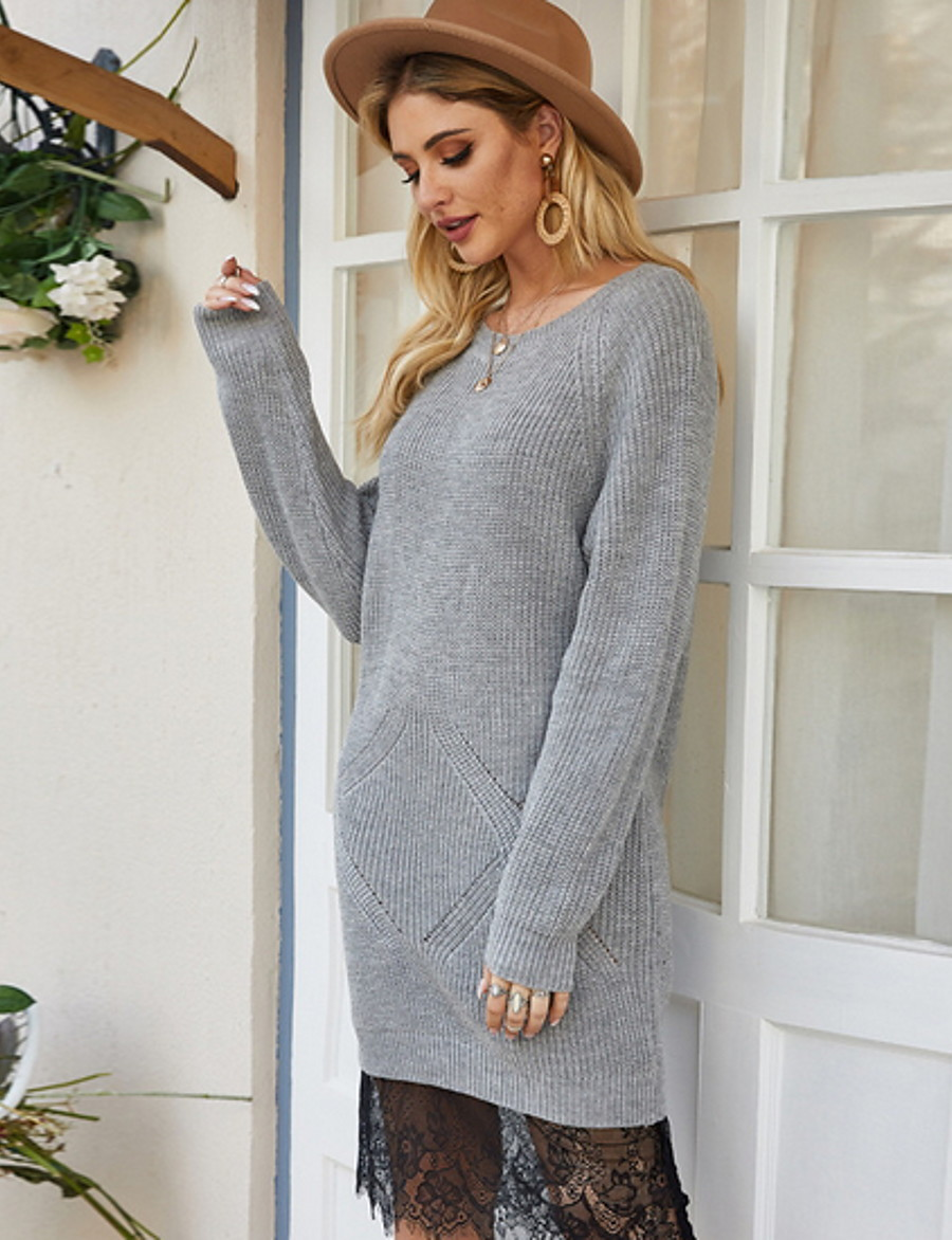 Women's Solid Colored Pullover Cotton Long Sleeve Loose Sweater Cardigans Crew Neck Round Neck Fall Gray