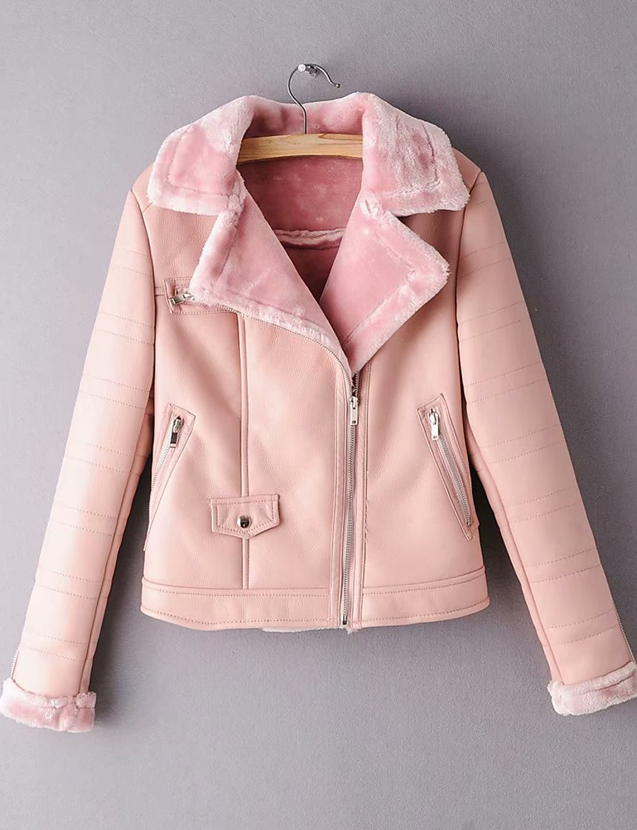 Women's Winter Faux Leather Jacket Short Solid Colored Daily Black Blushing Pink S M L / Slim