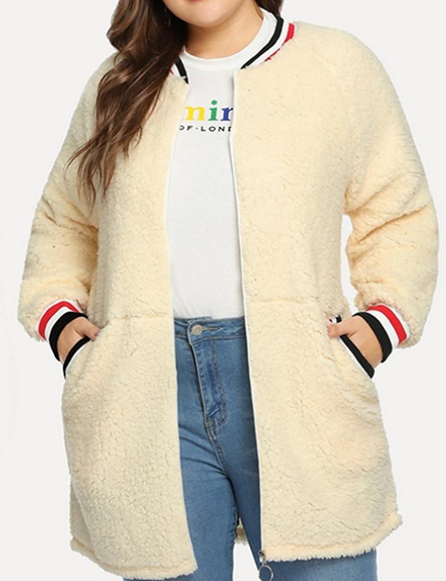 Women's Stand Collar Faux Fur Coat Regular Striped Daily White L XL XXL 3XL