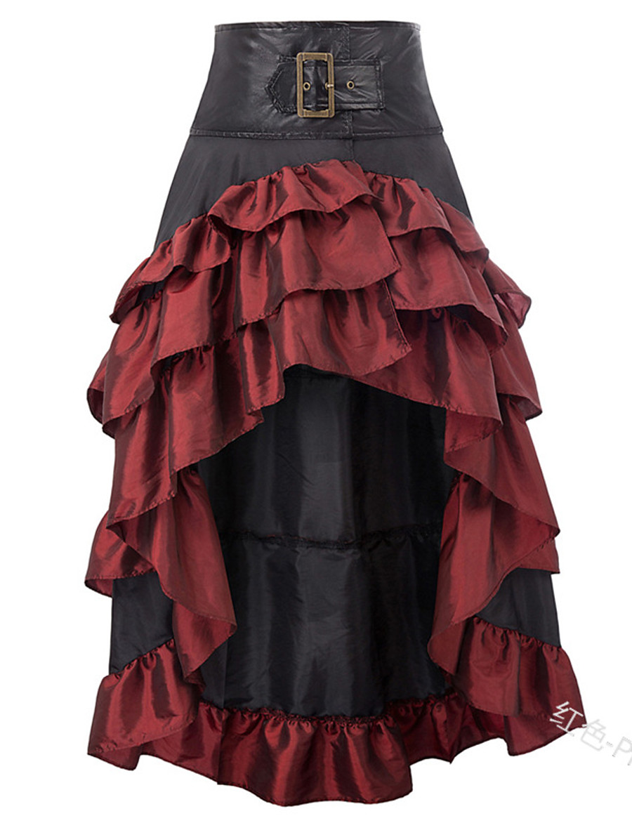 Women's Basic Skirts Color Block Layered Pleated Patchwork Black Red Brown / Asymmetrical