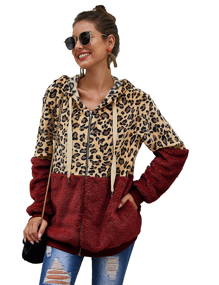 Women's Pullover Hoodie Sweatshirt Zip Up Hoodie Sweatshirt Teddy Coat Leopard Cheetah Print Daily Casual Hoodies Sweatshirts  Loose White Black Wine