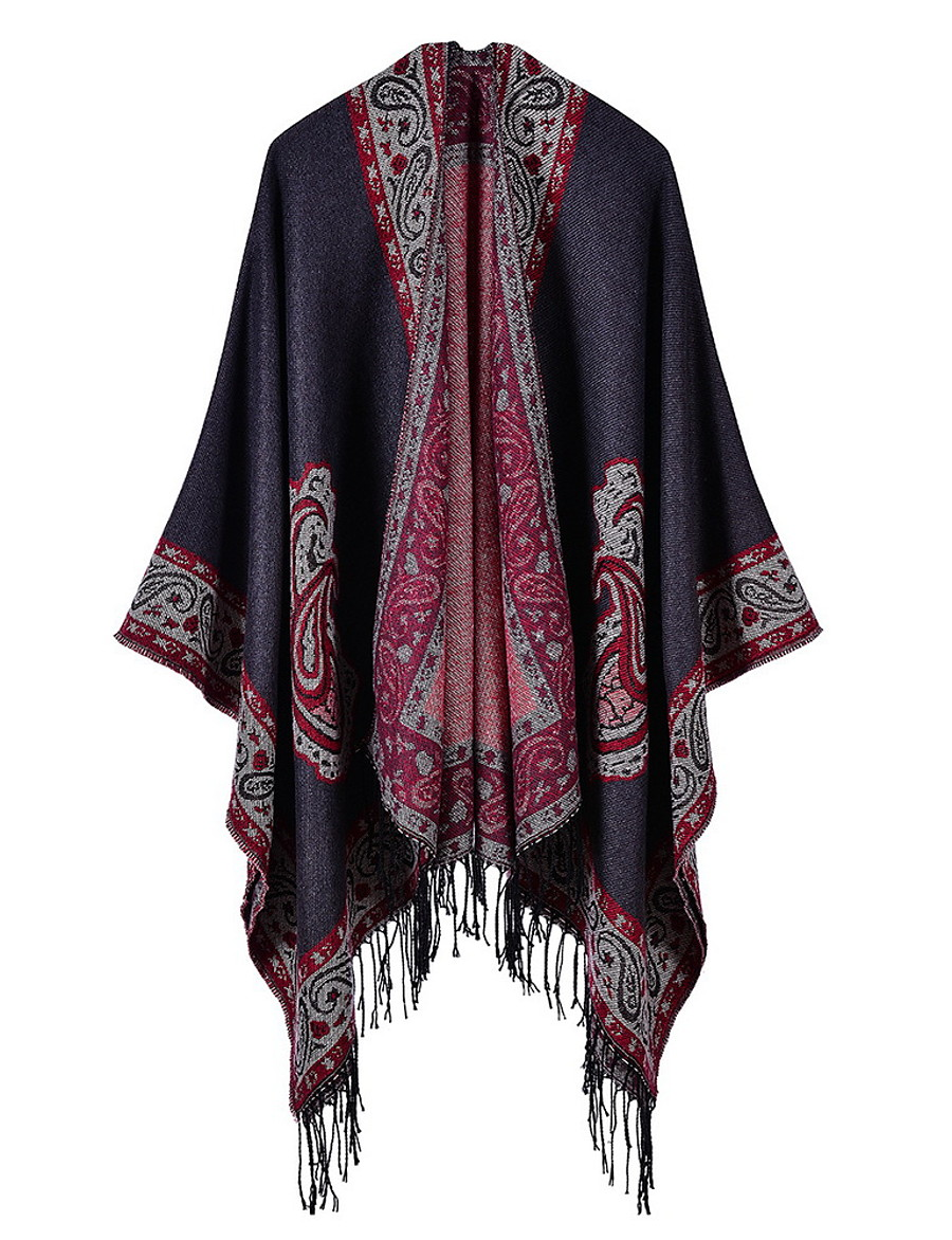 Women's Cloak / Capes Regular Plants Daily Basic Black Red Wine One-Size