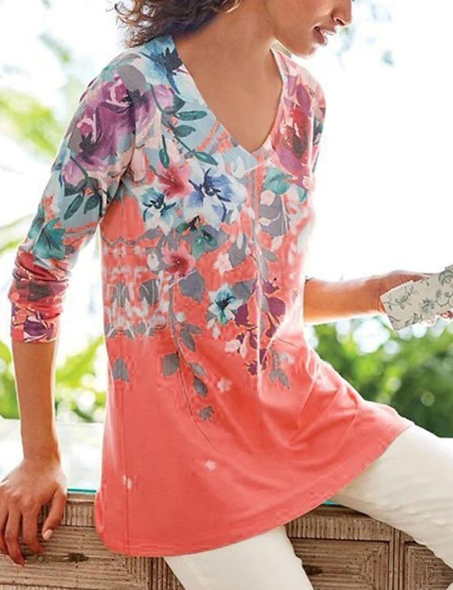 Women's Blouse Shirt Leaf Long Sleeve Print V Neck Tops Basic Basic Top Blue Purple Yellow