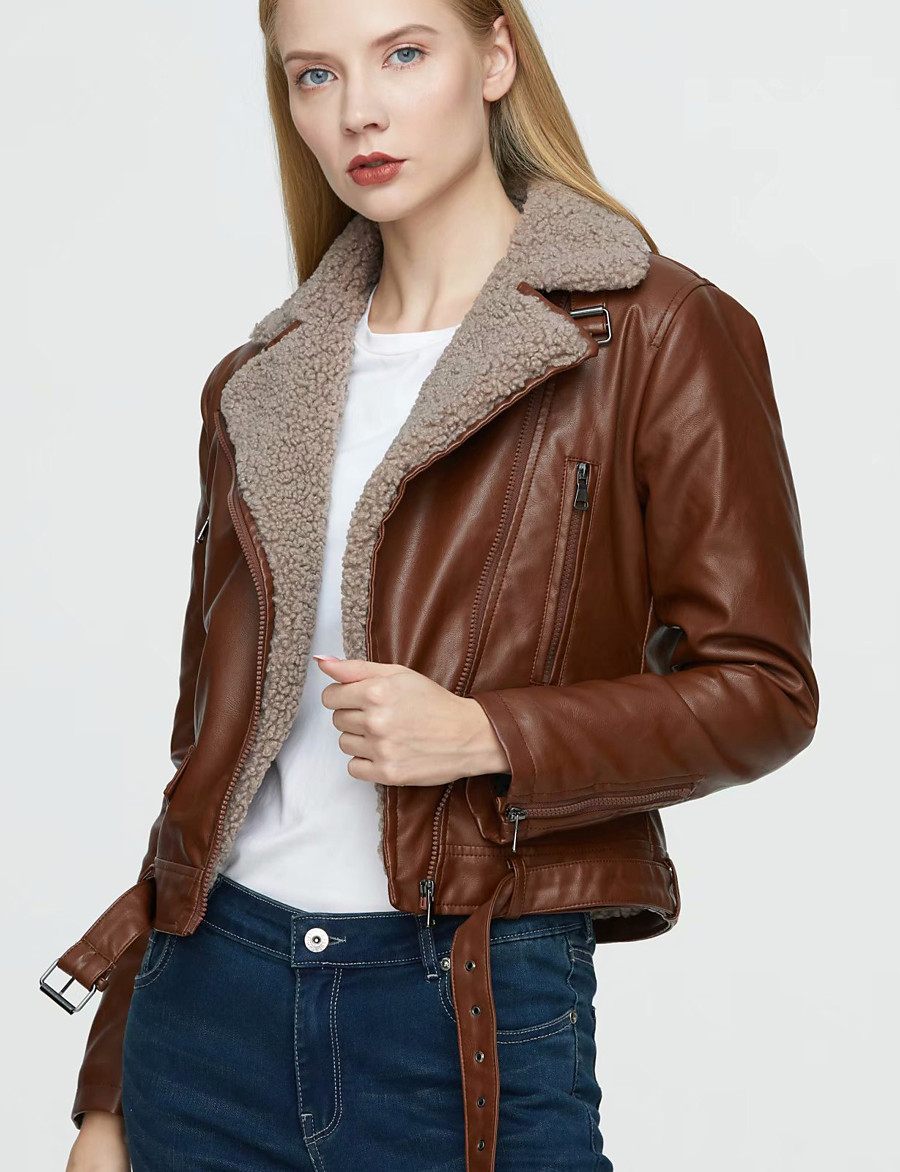 Women's Zipper Faux Leather Jacket Regular Solid Colored Daily Basic Black Brown S M L