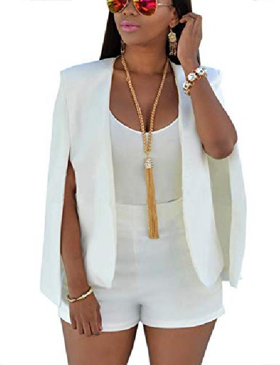 Women's Jacket Solid Color Fashion Coat Casual Fall Spring Short Jacket White / Date / Daily / Cotton