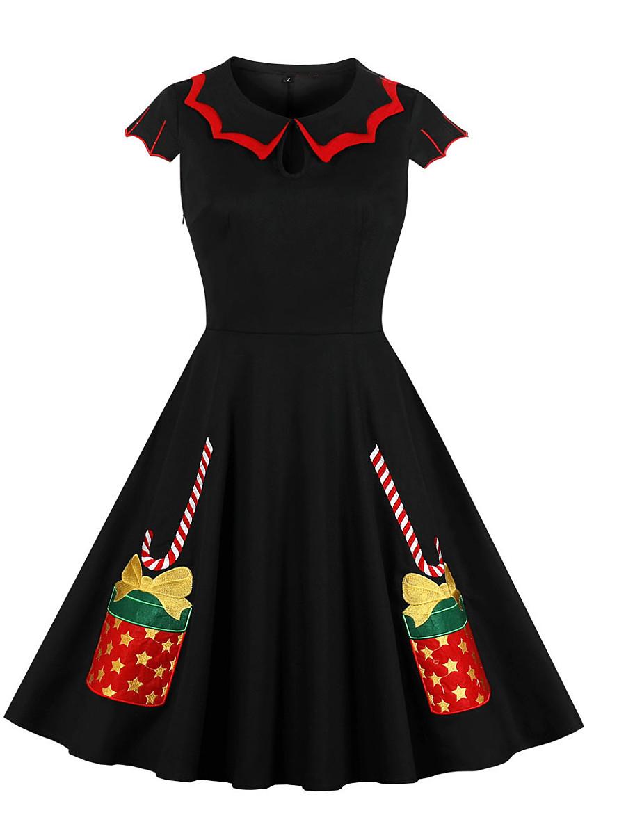 Women's Swing Dress Knee Length Dress - Short Sleeve Print Patchwork Zipper Print Fall Vintage Daily Cotton Slim 2020 Red Yellow Green S M L XL XXL