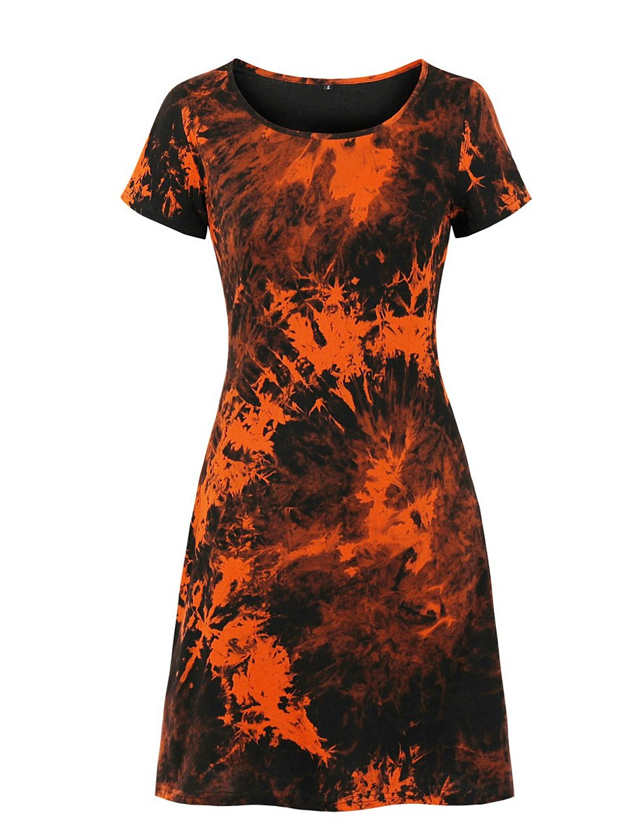 Women's A-Line Dress Knee Length Dress - Short Sleeve Tie Dye Print Summer Casual Daily 2020 Black S M L XL