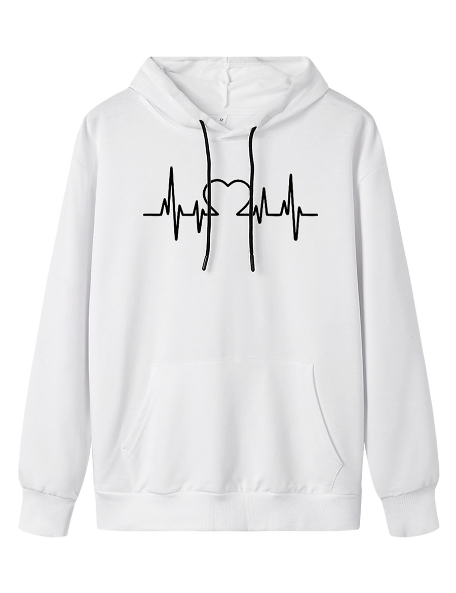 Women's Pullover Hoodie Sweatshirt Graphic Daily Casual Basic Hoodies Sweatshirts  White Black Blue