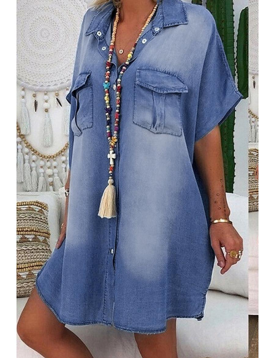 Women's Denim Shirt Dress Knee Length Dress - Short Sleeve Summer V Neck Hot Casual 100% Cotton 2020 Blue Dusty Blue Light Blue S M L XL XXL 3XL