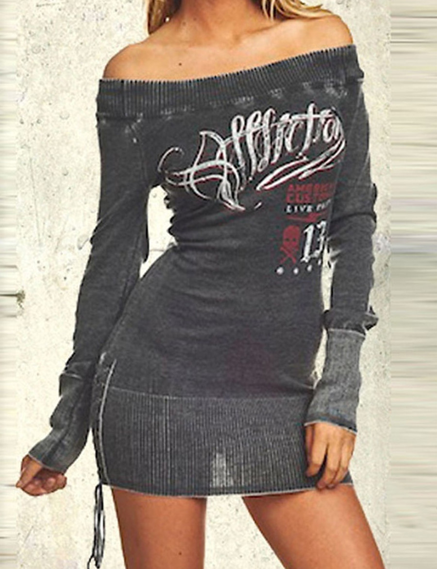 Women's Sheath Dress Short Mini Dress - Long Sleeve Letter Print Spring Off Shoulder Sexy Party Club Slim 2020 Black M L XL XXL XXXL XXXXL XXXXXL