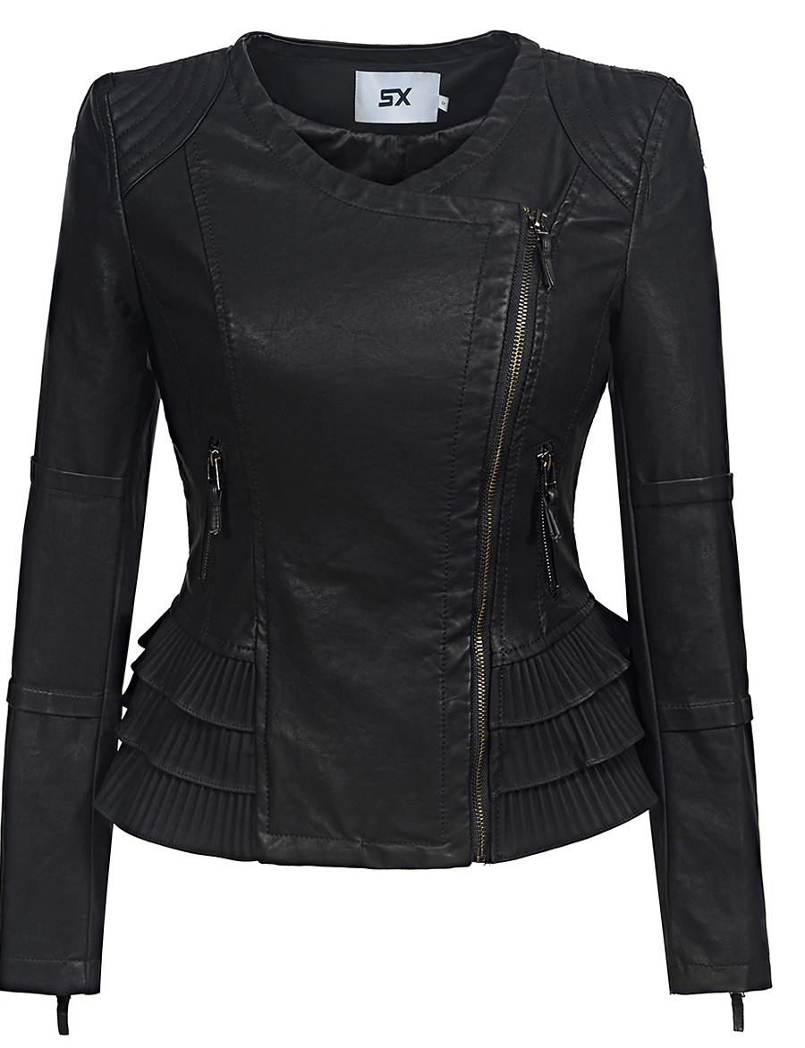 Women's Zipper Faux Leather Jacket Regular Solid Colored Daily Punk & Gothic Black S M L