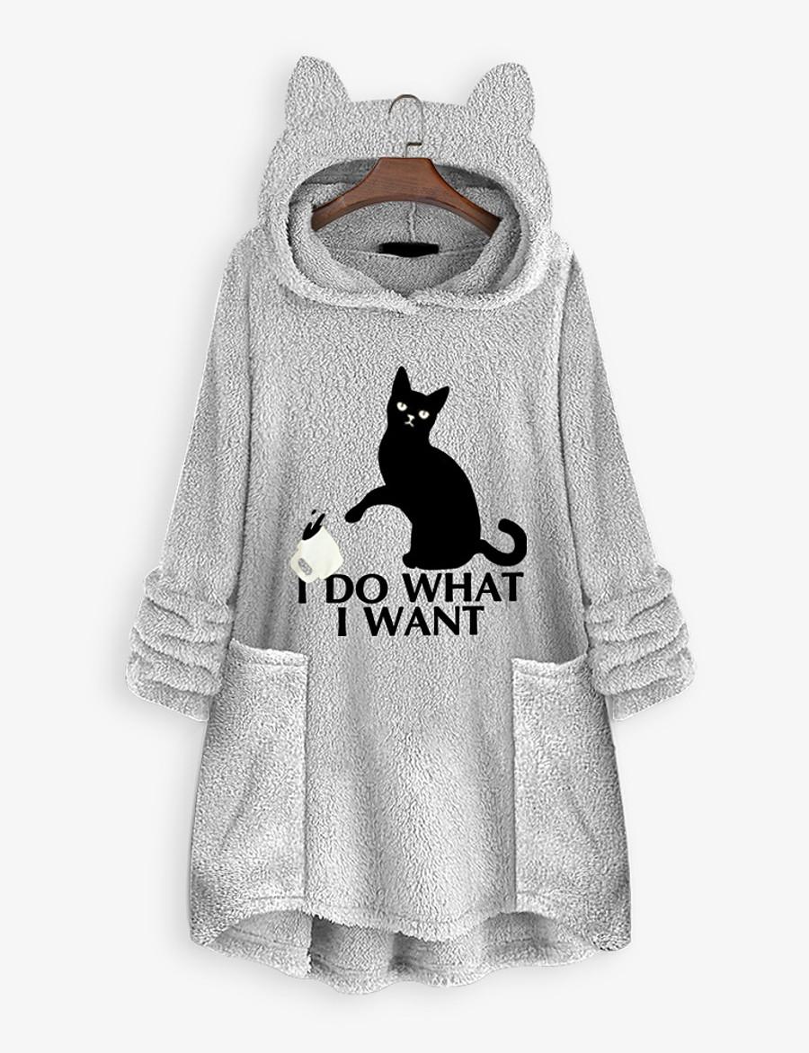 Women's Pullover Hoodie Sweatshirt Teddy Coat Animal Front Pocket Cat Ear Daily Basic Hoodies Sweatshirts  Loose Oversized Long Black Yellow Blushing Pink