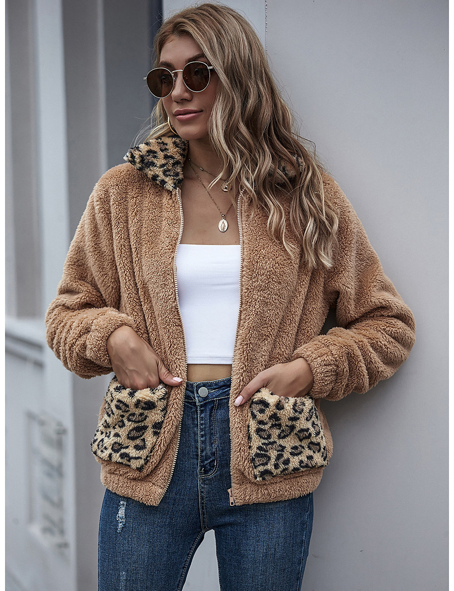 Women's Fall & Winter Teddy Coat Regular Leopard Print Daily Basic Patchwork Khaki S M L XL