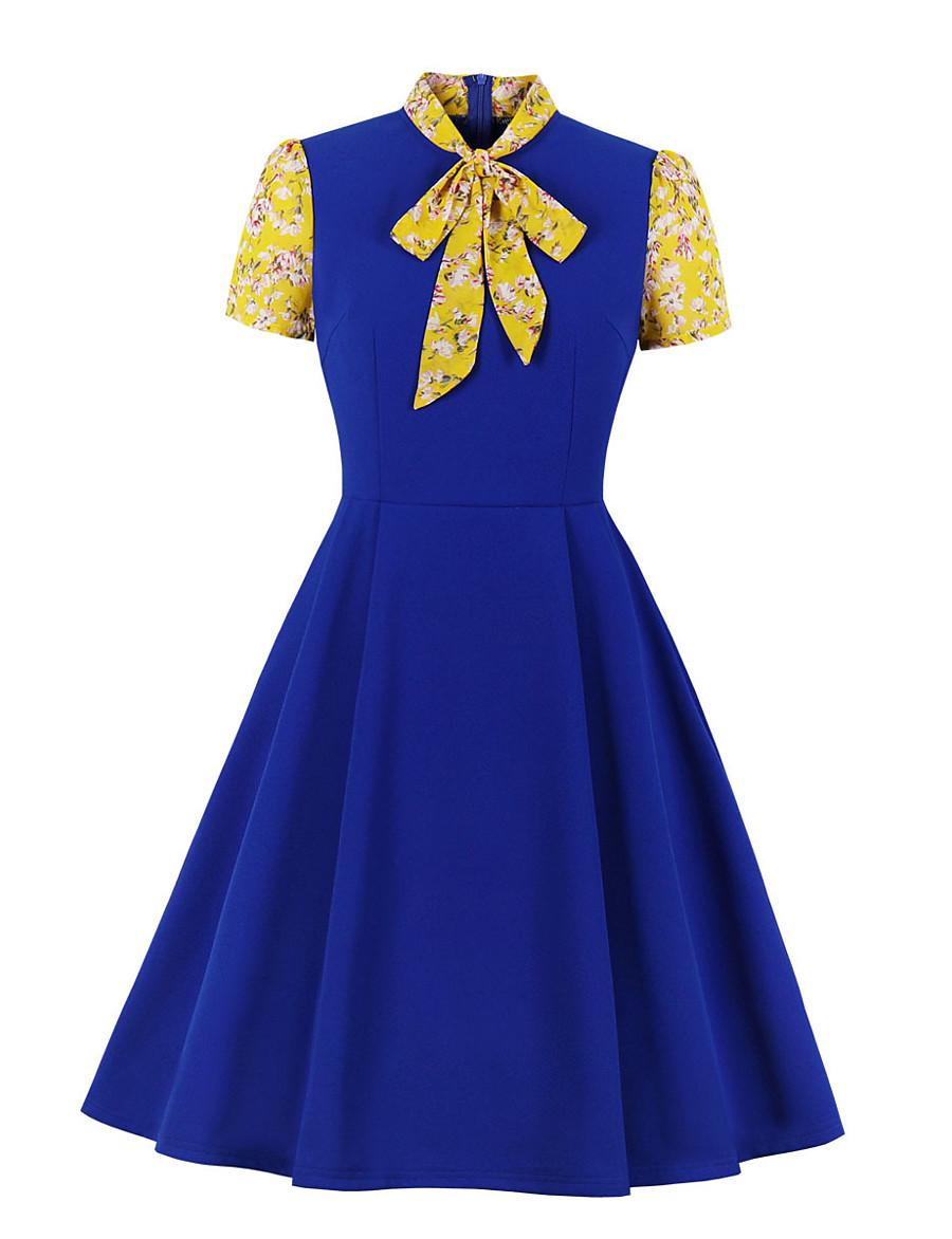 Women's Swing Dress Knee Length Dress - Long Sleeve Solid Color Bow Patchwork Zipper Summer Vintage Slim 2020 Blue Purple Red Yellow S M L XL XXL / Print