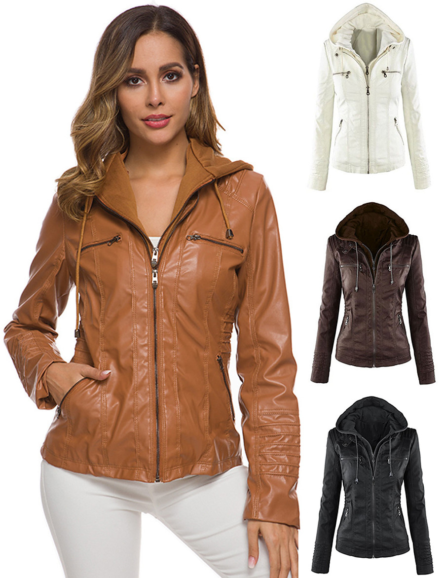 Women's V Neck Winter Faux Leather Jacket Short Solid Colored Sports Plus Size Beaded White Black Light Brown S M L