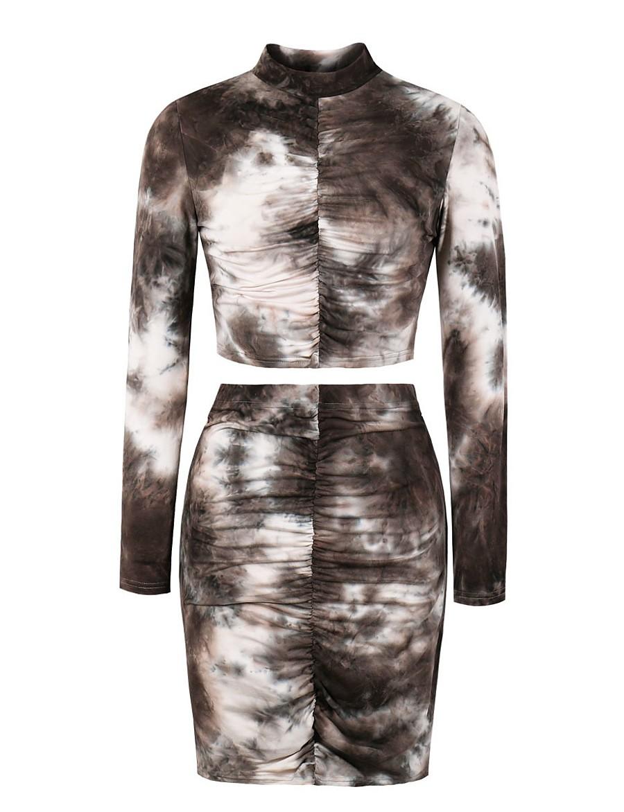 Women's Sheath Dress Short Mini Dress - Long Sleeve Tie Dye Print Fall Winter Sexy Slim 2020 Gray S M L XL XXL