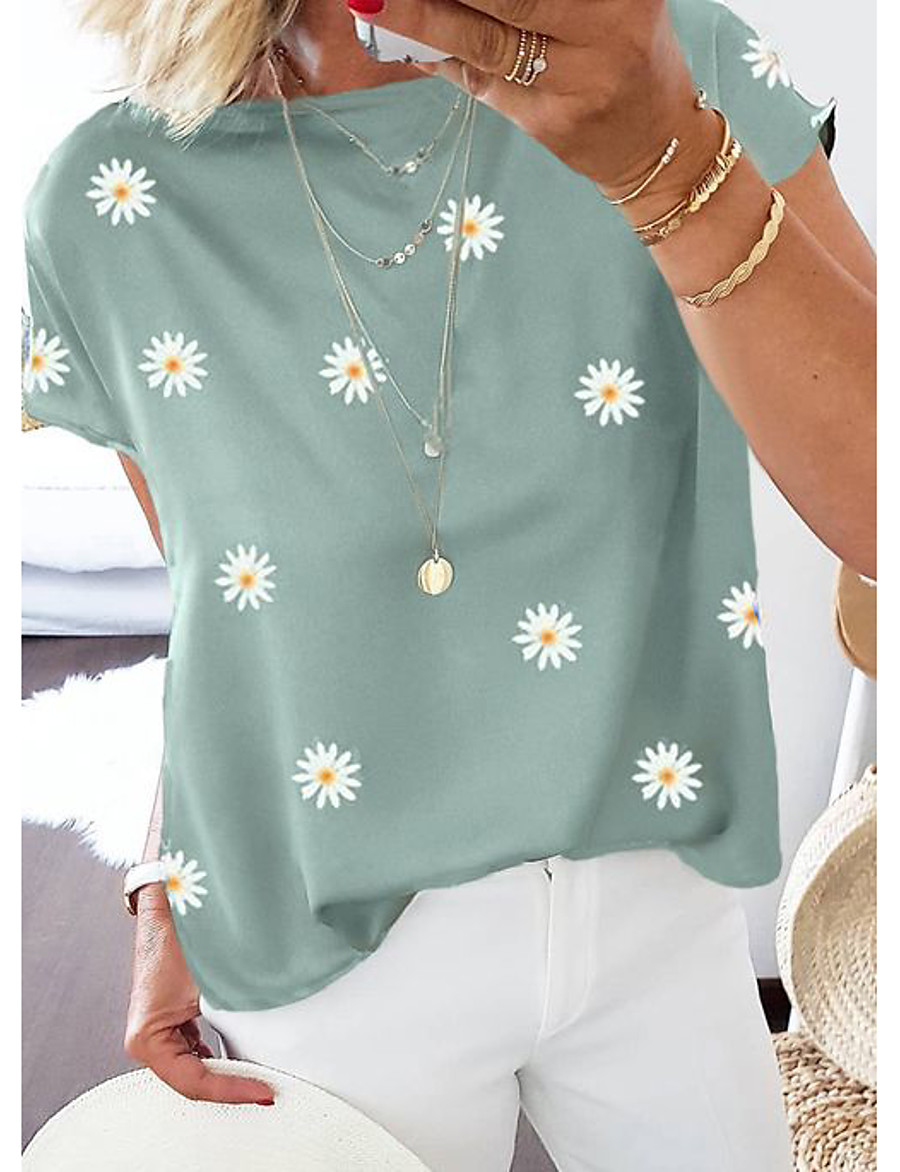 Women's Going out T-shirt Floral Flower Daisy Print Round Neck Tops Cotton Basic Basic Top Blue Purple Khaki