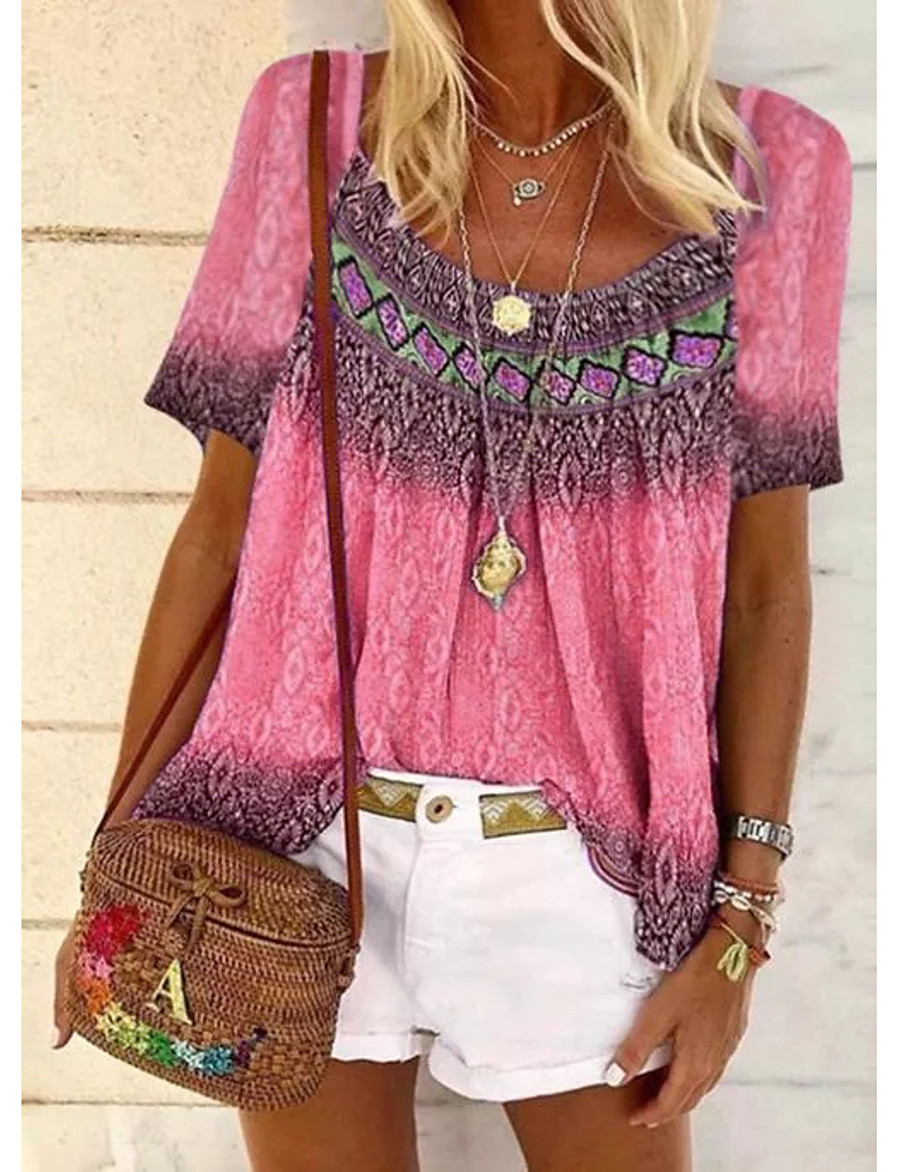 Women's Going out T-shirt Color Gradient Tribal Print U Neck Tops Basic Basic Top Blue Purple Yellow