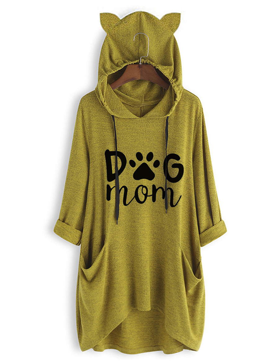 Women's Pullover Hoodie Sweatshirt Letter Front Pocket Daily Basic Hoodies Sweatshirts  Loose Oversized Long Blue Yellow Blushing Pink
