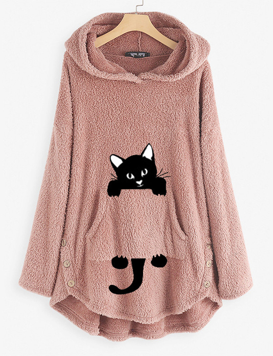 Women's Pullover Hoodie Sweatshirt Teddy Coat Animal Daily Basic Cute Hoodies Sweatshirts  Loose Oversized Long Black Wine Army Green