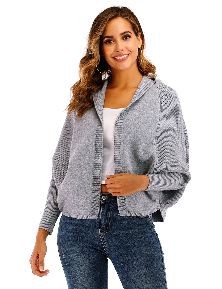 Women's Basic Knitted Hooded Solid Colored Cardigan Long Sleeve Loose Sweater Cardigans Hooded Fall Winter Beige Gray