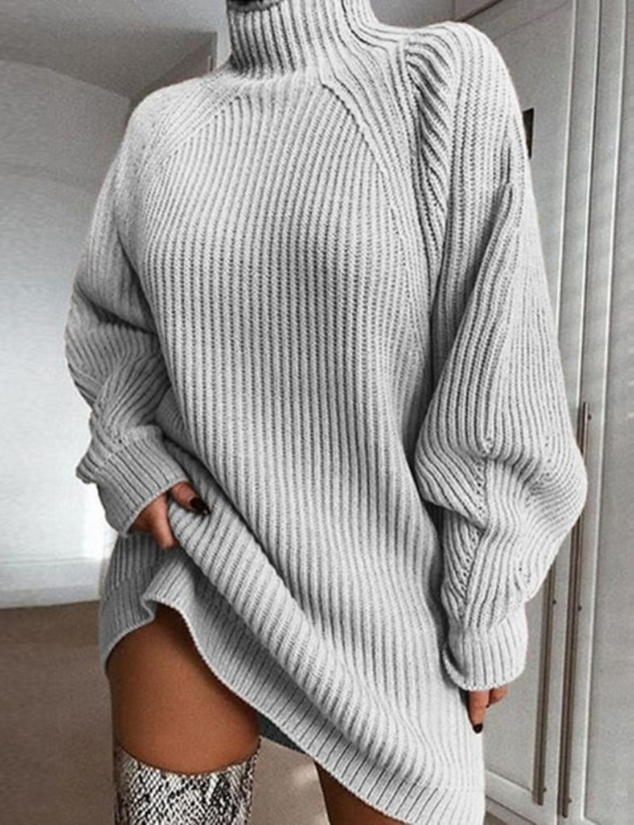 Women's Basic Knitted Solid Colored Plain Dress Sweater Dress Cotton Long Sleeve Loose Sweater Cardigans Turtleneck Fall Winter Blushing Pink Wine Light gray
