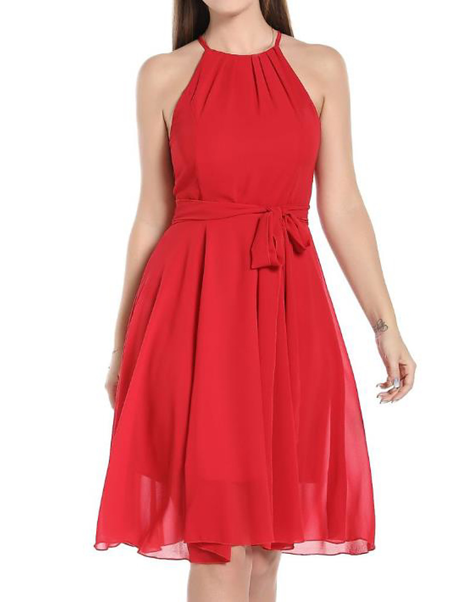 Women's Chiffon Dress Knee Length Dress - Sleeveless Solid Color Spring Summer Sexy 2020 Red S M L XL XXL