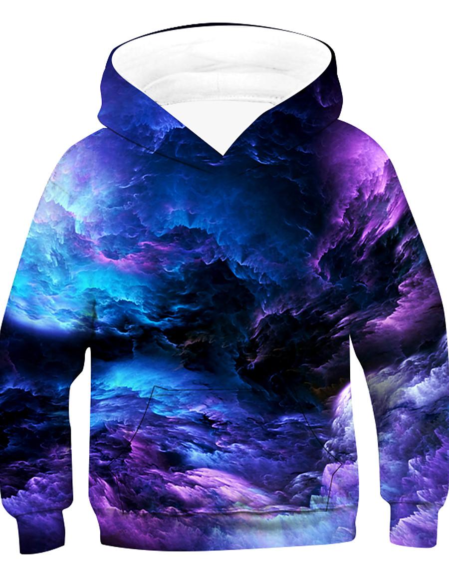 Kids Boys' Hoodie & Sweatshirt Pullover Long Sleeve 3D Print Galaxy sky Tie Dye Unisex Purple Red Green Children Tops Active Basic 2-12 Years