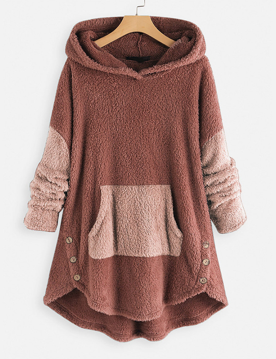 Women's Pullover Hoodie Sweatshirt Teddy Coat Solid Color Plain Front Pocket Daily non-printing Basic Hoodies Sweatshirts  Blushing Pink Brown Gray