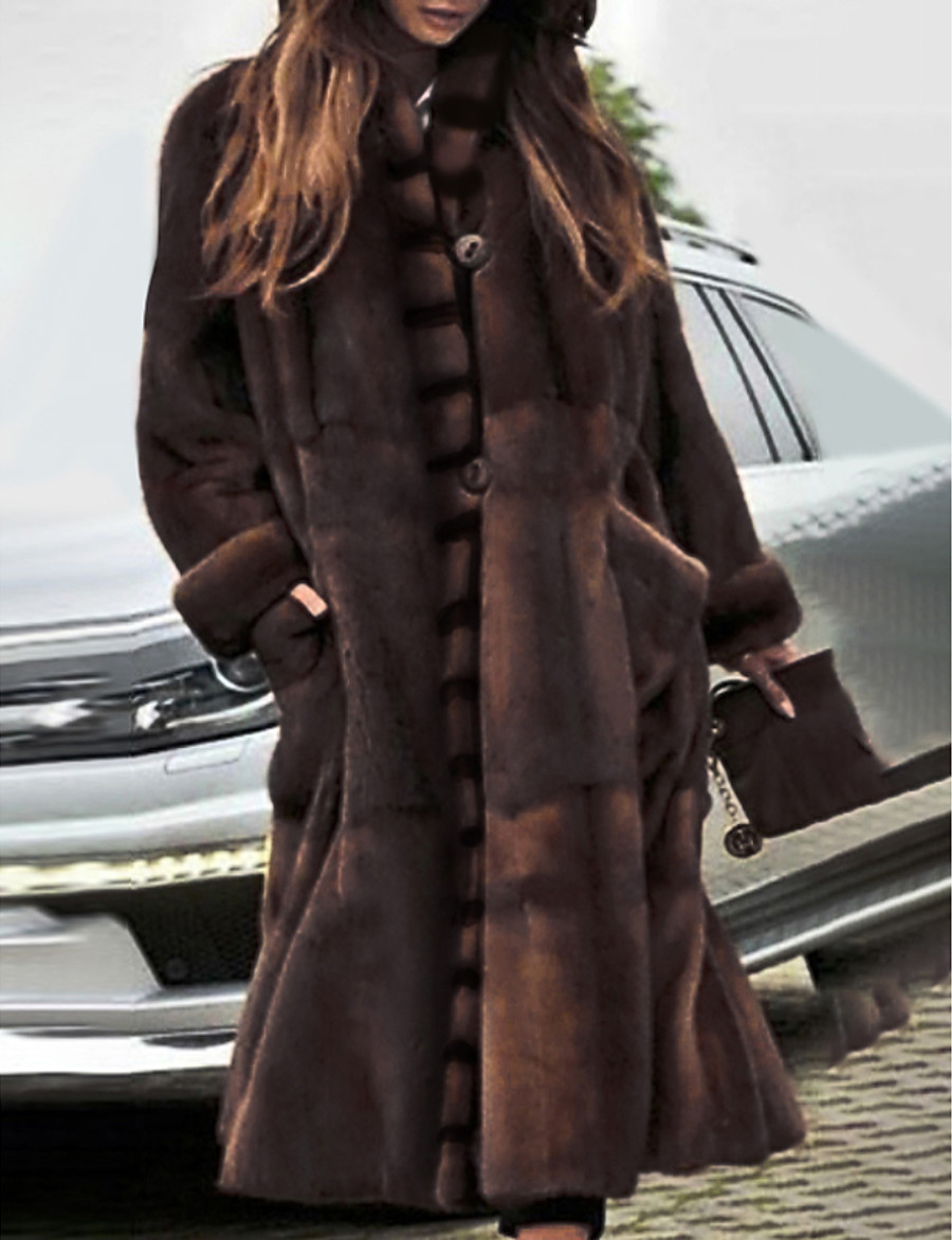 Women's Stand Collar Faux Fur Coat Long Solid Colored Party Basic Brown S M L XL / Oversized