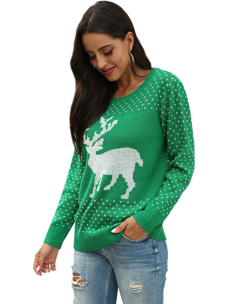 Women's Christmas Animal Sweater Long Sleeve Sweater Cardigans Crew Neck Round Neck Fall Winter Red Green