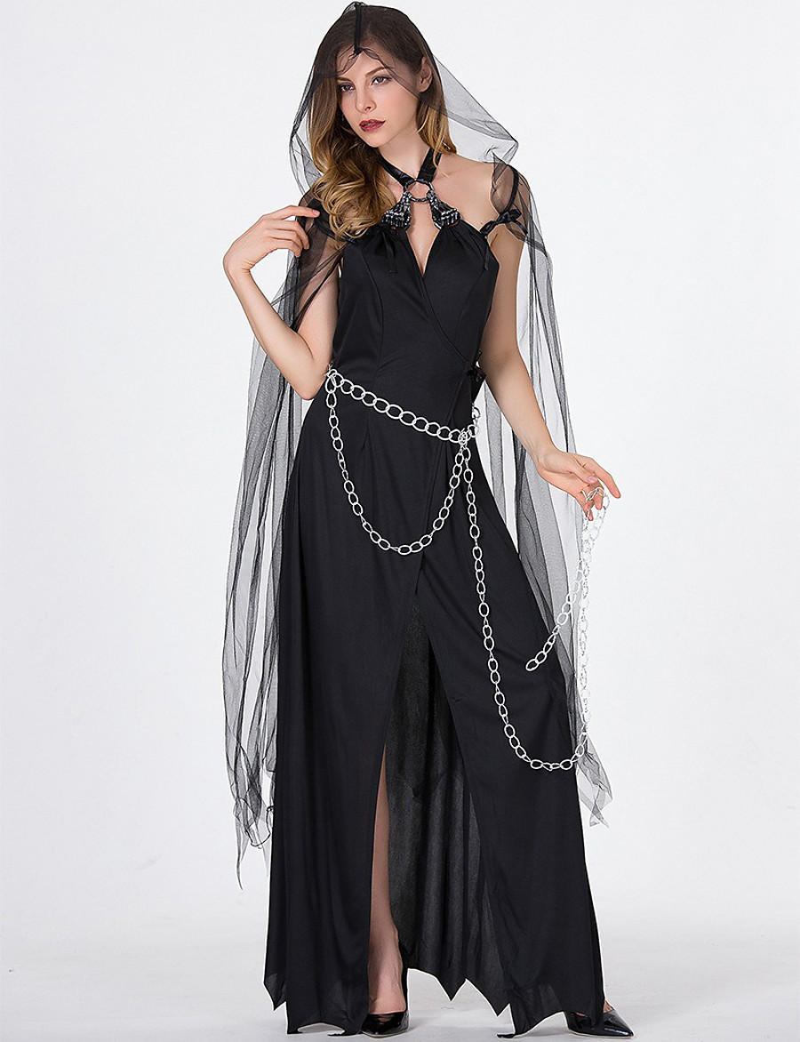 Women's A-Line Dress Maxi long Dress - Sleeveless Solid Color Mesh Split Summer V Neck Sexy Party Loose 2020 Black S M L