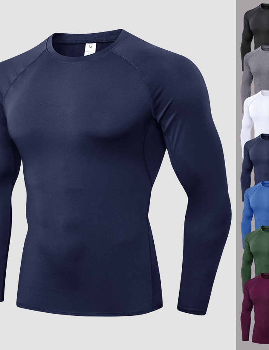YUERLIAN Men's Long Sleeve Compression Shirt Running Shirt Tee Tshirt Top Athletic Quick Dry Moisture Wicking Breathable Spandex Fitness Gym Workout Running Jogging Sportswear Solid Colored Blue Gray