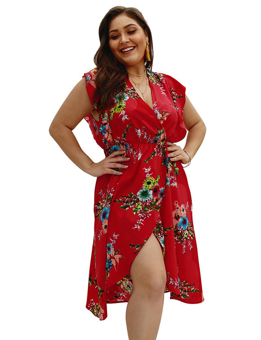 Women's Wrap Dress Knee Length Dress - Short Sleeve Floral Print Summer V Neck Elegant Slim 2020 White Red Green XL XXL 3XL 4XL